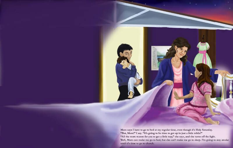 The final version of Catherine's family on Holy Saturday at bedtime. The children are being put to bed.