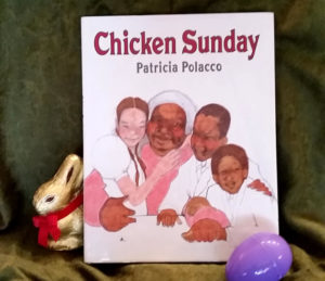 Chicken Sunday with a chocolate bunny and a plastic egg