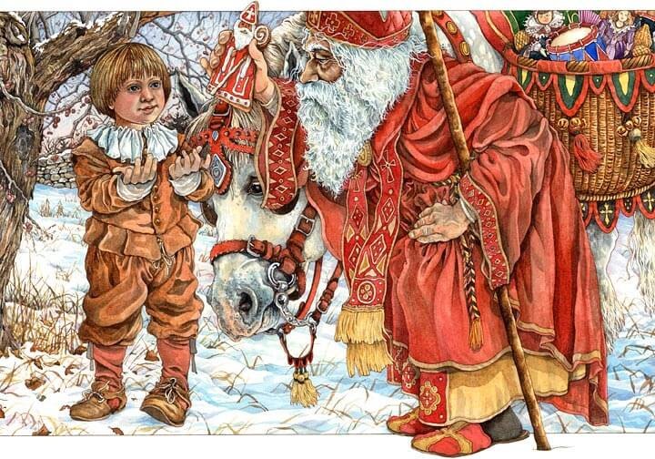 """In this illustration from """"The Baker's Dozen,"""" a young boy receives a St. Nicholas cookie from St. Nicholas himself."""