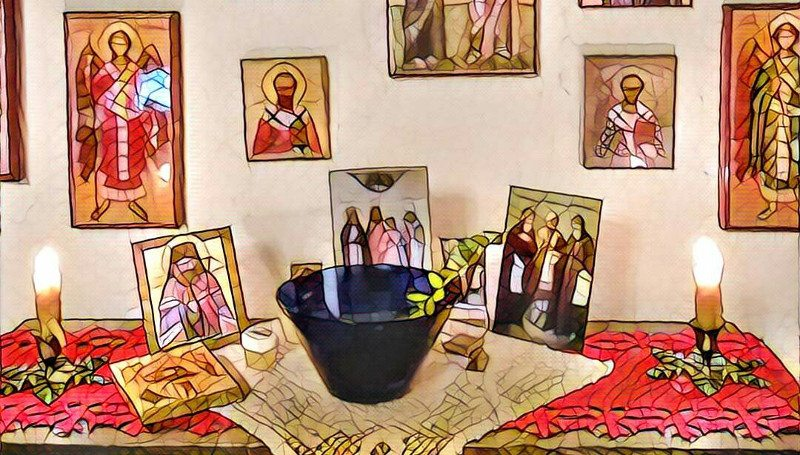 A bowl for holy water on the shelf in the icon corner, ready for the house blessing