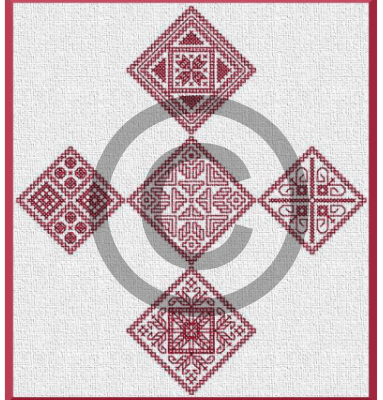 blackwork embroidery pattern for Christmas ornaments or other decorative stitching