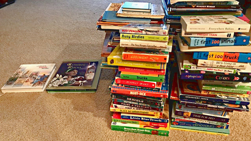 Four large stacks of books that have no disabled characters, plus two very small stacks with major or minor characters who have disabilities