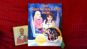 Saint Nicholas Day SNow, with a small icon of St. Nicholas and a tiny ceramic Christmas tree