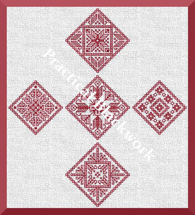 blackwork embroidery pattern for five Christmas ornaments
