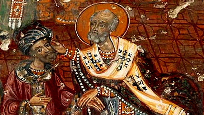 St Nicholas slaps Arius at the church council in Nicea.