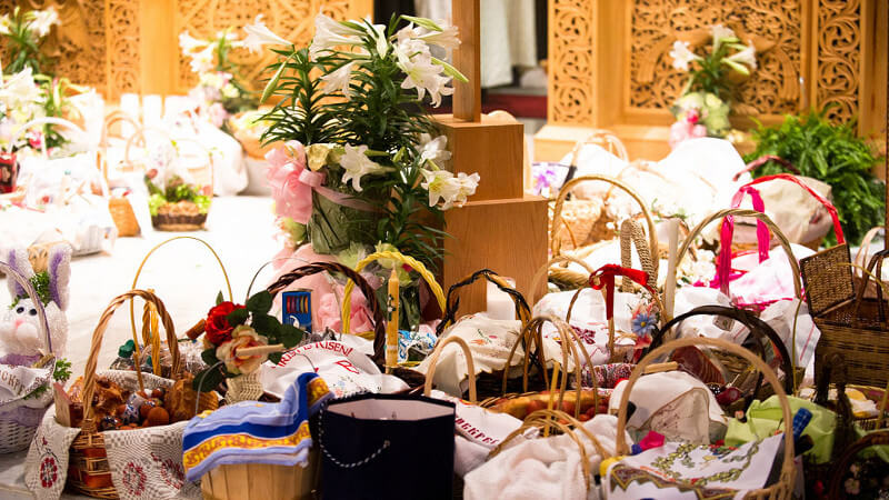 Pascha baskets at St. Michael Orthodox Church