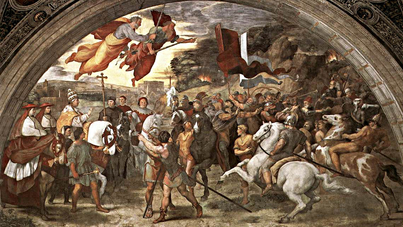 The meeting between Pope Leo and Attila the Hun, a fresco by Raphael
