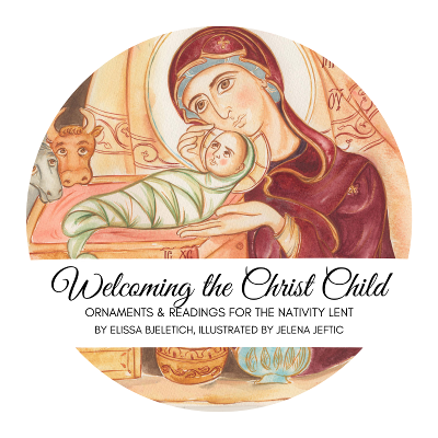 The top of a round tin with the words Welcoming the Christ Child, Ornaments and readings for the Nativity Lent, by Elissa Bjeletich, illustrated by Jelena Jeftic, over a detail of a Nativity icon showing Mary with baby Jesus wrapped in swaddling clothes