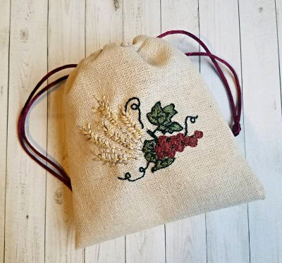 linen bag embroidered with wheat and grapes
