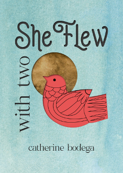 With Two She Flew has a stylized red bird on the cover