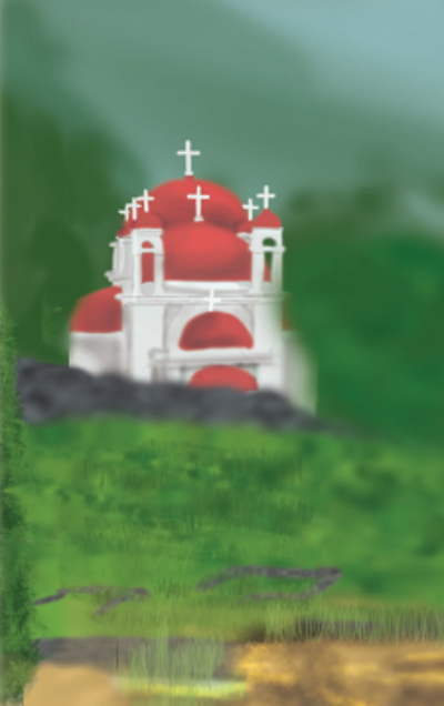 The church of the 7 Apostles is a white church with red domes