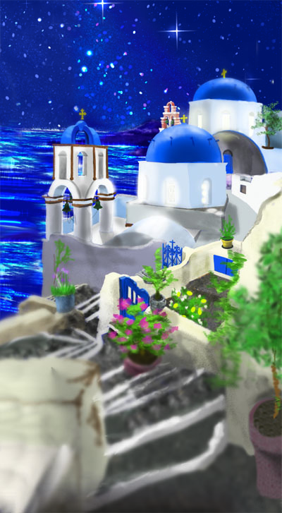 Blue-domed whitewashed churches in Santorini, Greece