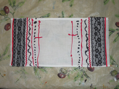 a completed pascha basket cover with ribbon, lace, and fabric paint