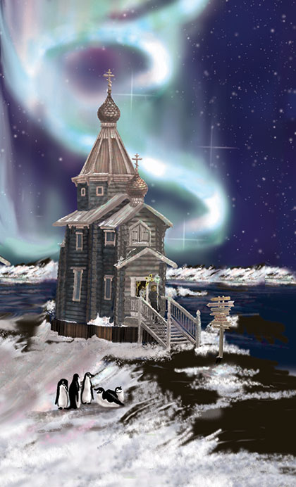 Holy Trinity Church, with the Southern Lights in the sky behind it