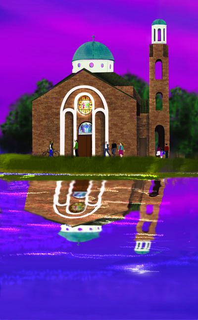 Holy Trinity Greek Orthodox Cathedral is reflected in the waters of the bayou