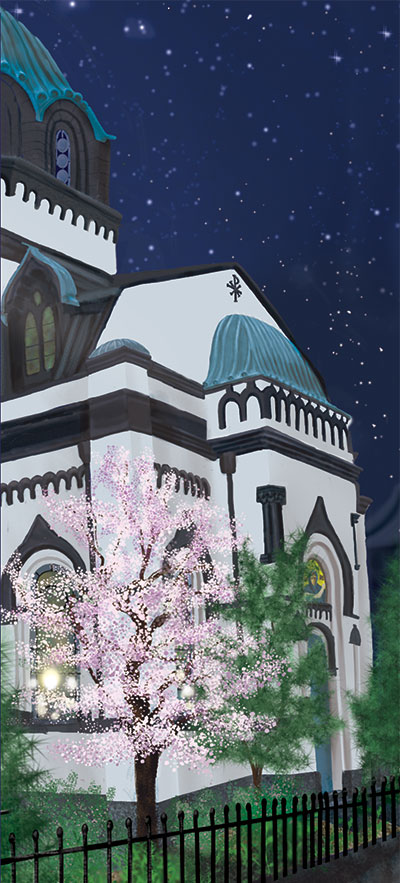 Holy Resurrection Cathedral in Tokyo (better known as Nikolai-do), with cherry trees in bloom